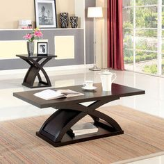 Furniture of America Barkley Modern 2-piece Espresso X-base Accent Table Set   Overstock.com Shopping - The Best Deals on Coffee, Sofa & End Tables