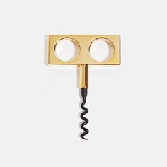Brass 00 modernist corkscrew designed by Lee West and made by the Carl Aubock workshop