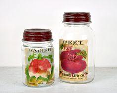 Vintage Ball Jars with Vintage Vegetable Seed Labels