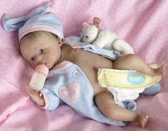 "MINI SOLID SILICONE ART BABY DOLL, ONLY 7"" LONG, MADE FROM OOAK SCULPTURE"