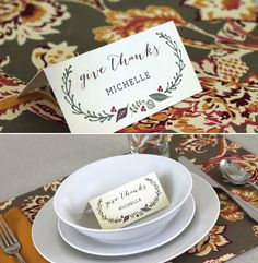 Free printable Thanksgiving escort cards #printables #holiday