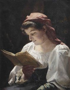 Women Reading - books0977:  A girl reading (1890). Emma Sparre...
