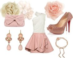 Way too cute! Pink and white one-shoulder dress, rosette hair clips, pink and gold jewel earrings, pink suede clutch with bow, pink spiked heels
