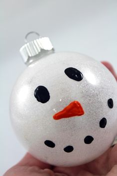 Snowman Pledge Glitter Ornament Tutorial. www.craft-e-corner.com