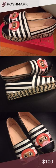 "Kate Spade Lincoln Black/White Stripe Espadrilles Kate Spade ♠️ New York Napa Leather Black & White Striped with Monkey Face 🐵 Espadrilles Sz. 9 Retail $158  Details: •1.3"" braided jute flatform heel •Round capped toe •Monkey face features at vamp •Slip on style •Padded footbed •Rubber and rope sole •imported kate spade Shoes Espadrilles"