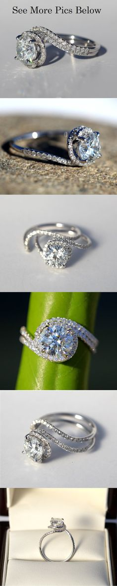 14k White gold - Diamond Engagement Ring - Halo - UNIQUE -  Thin Swirl - Pave - Weddings- Luxury- Brides. $4,500.00, via Etsy.