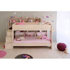 Parisot Bibop 2 Twin Over Twin Bunk  Bed with Trundle Finish: Acacia