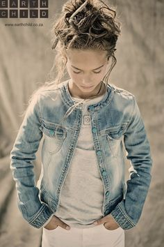 Bleached worn look girls jacket for organic kids label Earthchild