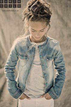 Bleached worn look girls jacket for organic kids label Earthchild