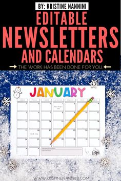 Newsletter Template Editable - Calendar - Parent Communication - Make family communication simple and easy with this stress-free download. Help your 1st, 2nd, 3rd, 4th, 5th, & 6th grade guardians know what is going on in the classroom with editable weekly or monthly newsletter options, various clipart designs, monthly calendars, & more. Click through to learn about the header options, designs, & more. Great for your Year 2, 3, 4, 5, or 6 kids. #ElementaryNewsletter