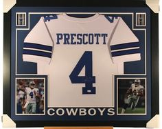 94ba5140fc8 Dak Prescott Signed Framed 35x43 White Custom Football Jersey JSA