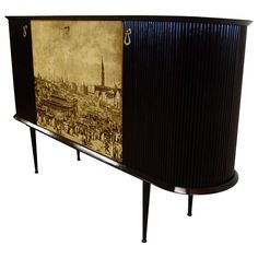 Rare Bar Cabinet by Vittorio Dassi, Italy, circa 1950 | From a unique collection of antique and modern cabinets at https://www.1stdibs.com/furniture/storage-case-pieces/cabinets/