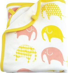 Jersey Elephant Blanket White, Yellow & Pink – by Littlephant. Find more Littlephant products at www.babycompany.co.uk