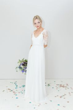 Dana Bolton is a London wedding dress designer who specialises in boho, ethereal, floaty and romantic style wedding dresses. French lace and softest silks creating a relaxed and unstructured look. Floaty Wedding Dress, Bohemian Style Wedding Dresses, Designer Wedding Dresses, Chiffon Skirt, Silk Chiffon, London Wedding, French Lace, Lace Sleeves, Wedding Trends