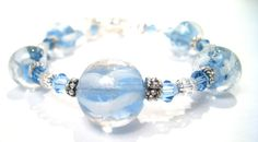 Glass Beaded Bracelet Ocean Shimmer by BrankletsNBling on Etsy,