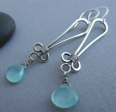 Handmade Silver Earrings/ Chalcedony Earrings/ Silver by mese9