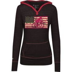 Female Cyclist Silhouette On The American Flag Junior Lightweight T-Shirt Hoodie