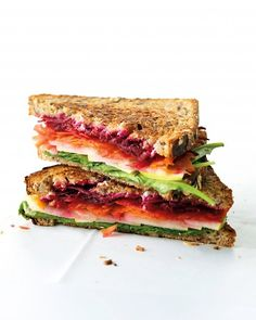 Goat Cheese and Vegetable Sandwich  Shredded raw beets, carrots, sliced pear, and arugula create a riot of flavor and color in this unique sandwich. Goat cheese adds a pleasant tang.    Get the Goat Cheese and Vegetable Sandwich Recipe