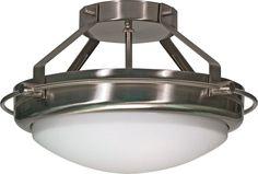Semi Flush Ceiling Light Fixture in Brushed Nickel Finish