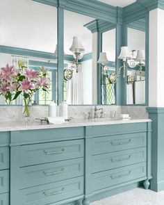 """Amy Studebaker Design on Instagram: """"I'm throwing it back to a couple of years ago to this Bathroom from #projectatraditionalestate ! I love designing every type of room, but…"""" Blue Bathroom Vanity, Blue Vanity, Bathroom Vanity Cabinets, Bathroom Colors, Bathroom Sets, Master Bathroom, Bathroom Vanities, Turquoise Bathroom, Modern Bathroom"""
