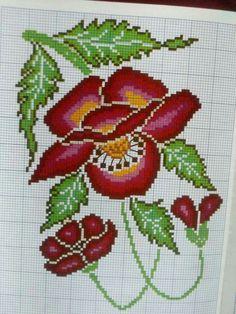 Cross Stitch Bird, Cross Stitch Flowers, Cross Stitch Designs, Cross Stitching, Cross Stitch Embroidery, Cross Stitch Patterns, Filet Crochet, Crochet Motif, Flower Designs