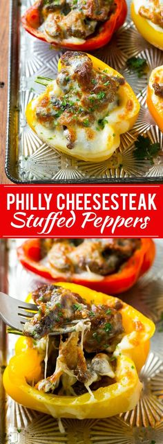 These Philly Cheesesteak Stuffed Peppers from Dinner at the Zoo is inspired by the classic sandwich! It's a filling meal that will please the whole family! Low Carb Recipes, Cooking Recipes, Healthy Recipes, Sausage Recipes, Stuffing Mix Recipes, Easy Meat Recipes, Meal Recipes, Vegetable Recipes, Recipies