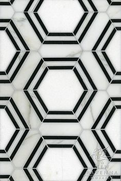 geometric tiles Pembroke, a natural stone waterjet mosaic shown in Calacatta Tia, Thassos and Nero Marquina honed, is part of the Silk Road Collection by Sara Baldwin for New Ravenna Mosaics. Copyright New Ravenna ® Geometric Tiles, Hexagon Tiles, Marble Tiles, Tiling, Mosaic Tiles, Marble Floor, Marble Art, Black Marble, Tile Floor
