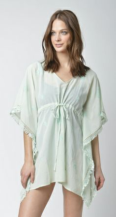 Lisa Curran Swim - Giselle Paisley Embroidered Caftan in Mint