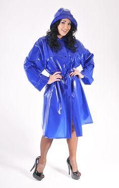 another lovely shiny blue PVC raincoat