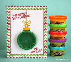 Play-Doh Ornament Gift Card - These would be cute to make for the day care kiddos.