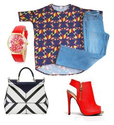 Pairing a LuLaRoe Irma with jeans makes for a simple and easy look. Throwing in some bold booties and watch with a patterned bag adds a little bit of dress.