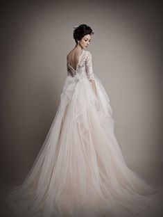 ersa-atelier-wedding-dresses-2015-16-05202014nz v-shape back backless ruffled lace tulle chiffon quarter length lace sleeves long sleeved wedding gowns