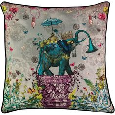 Santorus - The Other Orient Large Cushion (330 CAD) ❤ liked on Polyvore featuring home, home decor, throw pillows, asian inspired home decor, gray home decor, gray throw pillows, magenta throw pillow and oriental throw pillows