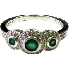 Exquisite Emerald Ring with Diamond Accents in a Halo Style and 14K White Gold