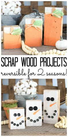 Making scrap wood projects is an inexpensive way to decorate your home! This idea turns scrap wood into reversible pumpkins and snowmen! Perfect to decorate from fall to winter! About Scrap Wood Projects: Reversible Pumpkins Diy Craft Projects, Outdoor Wood Projects, Scrap Wood Crafts, Wood Projects That Sell, Wood Projects For Kids, Wood Projects For Beginners, Scrap Wood Projects, Easy Woodworking Projects, Woodworking Tools