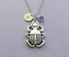 Scarab Necklace BFF Friend Gift Beetle by BelieveInGoodKarma