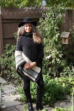 Chunky Crochet Poncho PATTERN / Easy Crochet by CrystalBearDesigns