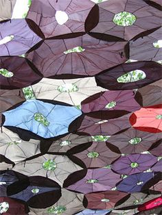 Recycled umbrellas for shade sail!