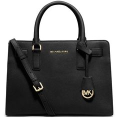 MICHAEL Michael Kors Dillon Saffiano Leather East-West Satchel Bag ($298) ❤ liked on Polyvore featuring bags, handbags, black, satchel handbags, satchel purse, handbag satchel, purse bag and saffiano leather satchel