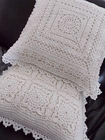 Kussens (met link naar gratis patronen) / cushion (with link to free patterns) MaisRenates Haken und soRenate's hooks thus: 2 White pillows Crochet Squares, Crochet Granny, Filet Crochet, Crochet Motif, Crochet Doilies, Granny Squares, Crochet Diy, Crochet Home, Crochet Crafts