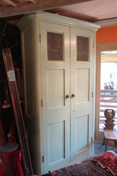 A very tall larder cupboard with nice old doors, old pine shelves and 3 internal drawers Replacement Kitchen Cupboard Doors, Sliding Cupboard, Larder Cupboard, Kitchen Cupboards, Cabinet Doors, Internal Glazed Doors, Internal Sliding Doors, Unusual Furniture, Furniture Ideas
