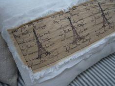 Cottage Pillow FrenCH PariS 14x18 White Denim by Sassycatcreations, $42.00