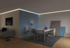 iluminacion indirecta led salon techo