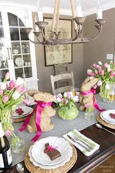 A cute idea for decorating your table for Easter - the twine bunnies are HomeGoods finds! #easter #table #tablescape #centerpiece