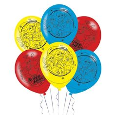 """Click and checkout today with your DC Super Hero Girls 4 Sided Latex Balloons 11""""/28cm - Pack of 6 by weeabootique! #shop"""
