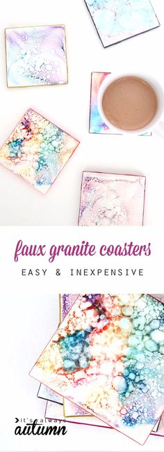41 Easiest DIY Projects Ever - Faux Granite Coasters - Easy DIY Crafts and Projects - Simple Craft Ideas for Beginners, Cool Crafts To Make and Sell, Simple Home Decor, Fast DIY Gifts, Cheap and Quick Project Tutorials http://diyjoy.com/easy-diy-projects