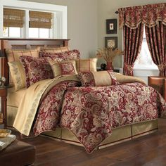 Croscill MYSTIQUE 4 Pc. Reversible Queen Comforter Set CLARET RED FLORAL   NEW  #Croscill #Mystique