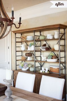 Create A Hutch By Making Galvanized Rack With Shelves Top And Place On Buffet We Could Actually Put One Around The Big Screen Tv To Fill Empty Wall