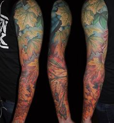 And this sleeve that is a complete seasonal story. | Community Post: 25 Autumn Leaf Tattoos You'll Totally Fall For