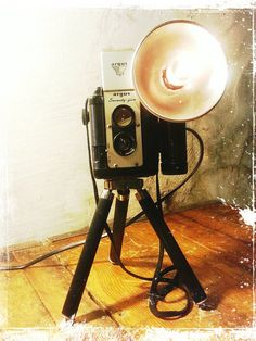 Upcycled retro Argus Seventyfive Camera Lamp with travel tripod and a touch of Steampunk flair